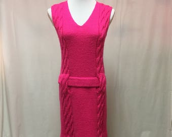 1960's Hot Pink Heavy Knit Jumper Tunic