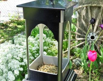 PVC birdfeeder, hanging feeder, ez clean, suet holder, succulent planter, fairy garden, lantern for LED candles, black pvc, Made in USA