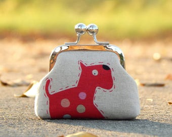 dog coin purse linen fabric