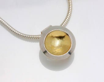 Textured 18 Karat Gold/ Sterling Silver Minimalist Sunny Day Window Necklace