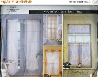 ON SALE Vogue 2243 Window Sheers, Designer Curtain Pattern, UNCUT