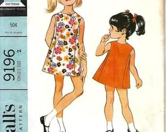 ON SALE 1960's McCall's 9196 Child's Sleeveless A-line Dress Pattern, Size 2, Uncut