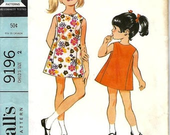 ON SALE 1960's McCall's 9196 Child's Sleeveless A-line Dress Pattern, Size 2, Uncut