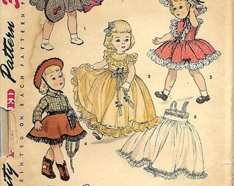"ON SALE 1950's Doll Wardrobe Pattern For 16"" Doll, UNCUT/Ff"