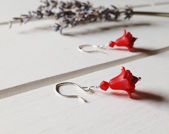 Hannah - Red Flower Earrings, Ready to Ship