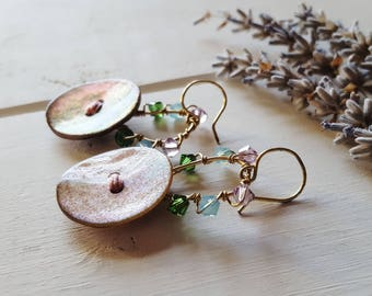 Copper Pastel Button Earrings, Ready to Ship