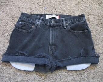 LEVIS Zipper-fly 505 Cutoff Jean Shorts Cut Off W 32 black Denim HIGH WAIST Free Shipping!!!!
