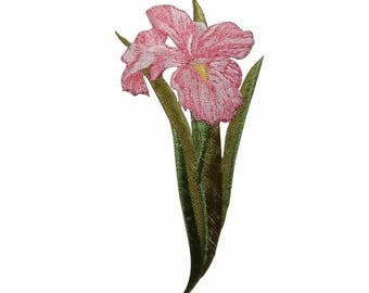 ID 6890 Pink Orchid Flower Patch Garden Iris Blossom Embroidered IronOn Applique