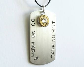 Badass Dogtag -  Fathers Day Gift - Dog tag - Dog tags - Handstamped Dogtag