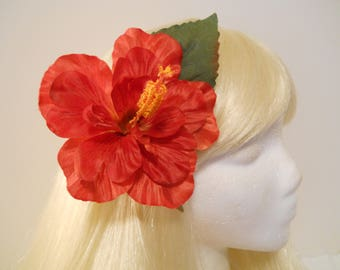 Hibiscus Hair Clip Red Large Hibiscus Real Looking Hawaiian Luau Wedding Rockabilly Beach Tiki South Pacific Retro Flamingo Red Flower Dance