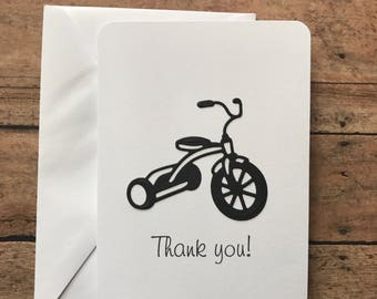 Tricycle Thank You Cards, Handmade Thank You Cards, Trike, Bicycle, Trke Thank You Set, Thank You Set, Bike Thank You Cards, Stationery