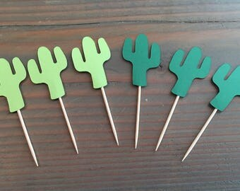 12 cactus cupcake toppers, fiesta toppers, cinco de mayo party decor, fiesta decor, fiesta cupcake toppers