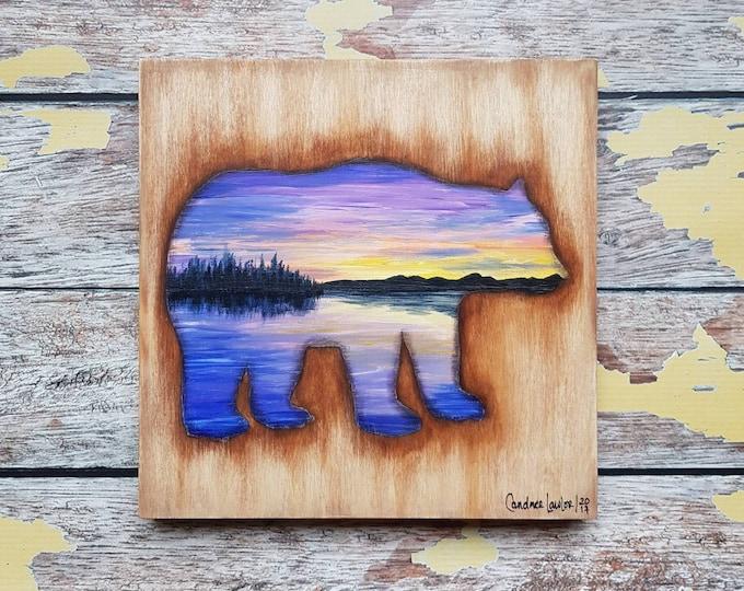 Bear Silhouette Painting | Wildlife Art | Landscape Painting | 8×8 | Painting on Wood | Bear Silhouette Art | Landscape Painting on Wood