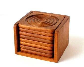 Vtg TEAK COASTER SET 9 pc Danish Modern GoodWood Bullseye Design Excellent Condtion