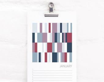 Colour Perpetual Calendar, Birthday and Anniversary Calendar, Abstract Art, Mini Art Prints