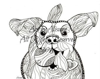 Dog with Ball  - Digital Download - Dog Art with Doodles
