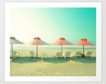 SALE, Beach wall art, beach photography, large art, large wall art, beach art, canvas wall art, beach canvas art, pink beach umbrella,