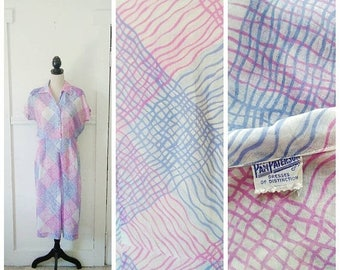 20% OFF / Love Through Letters 1940s Sheer Cream/Periwinkle Blue/Magenta Large Scale Plaid Cotton Dress