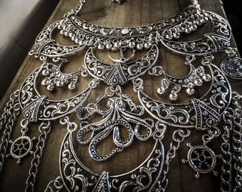 Maxi collar bib Moon silver goth steampunk Kraken octopus