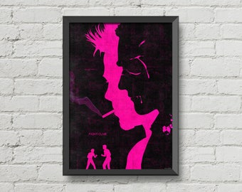 Fight club poster print brad pitt art movie poster black pink alternative movie poster