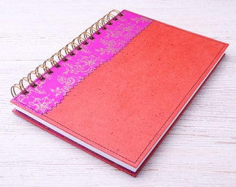 Blank Notebook pink and orange / pink journal / ecofriendly recycled notebook / sketchbook / unlined notebook / art journal / travel journal