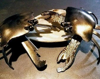 Silverware Crab, Metal Table Art, cancer sign gift, June Birthday Gift, Zodiac Cancer Gift, Silverware Art Decor, Crab, Spoonie Gift