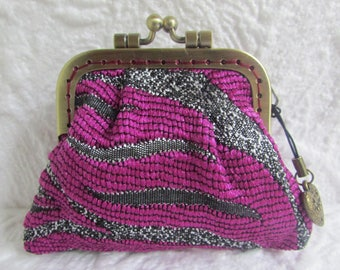 79B - Coin purse - Fabric with Metal Frame, handmade, wallet