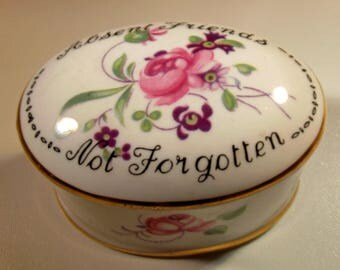 Box Crown Staffordshire Vintage Porcelain Absent Friends Not Forgotten Roses Violets Gift Trinket Treasure Box