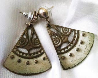 Earrings Vintage Triangle Cream Antique Bronze Dangle Exotic Historical Gypsy Bohemian Runway Chic Unique JJ Designer FREE Customization