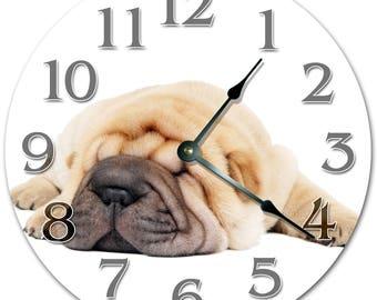 "10.5"" SHAR PEI PUPPY Clock - Living Room Clock - Large 10.5"" Wall Clock - Home Décor Clock - 5148"