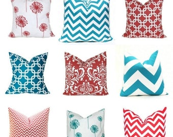 15% Off Sale PILLOWS, Coral Pillow Covers, Turquoise Pillows, Decorative Pillows, Accent Pillows, Throw Pillows, Toss Pillows, Aqua Pillow,