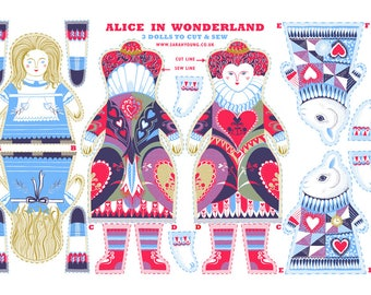 Alice in Wonderland Tea Towel / Cloth Kit - A silkscreen design by Sarah Young