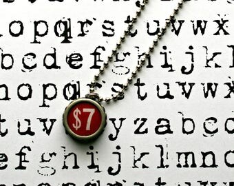 Vintage 1940s Upcycled Cash Register Key Necklace-Number 7 -Unisex Jewelry-Technology Geeks-by OldTimeVintageFinds