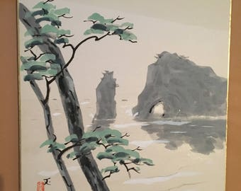 Japanese painting on shikishi, Lake with rocks and trees.