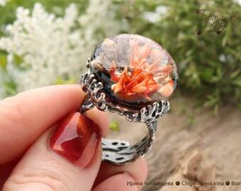 Coral reef - ring implosion red gray Silver artisan lampwork