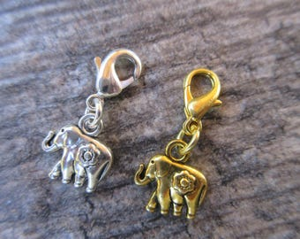 Lucky Elephant Clip-On Charm Tibetan Silver with lobster clasp--zipper pull, charm bracelets, purse charm key chain charm gold or silver