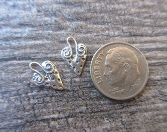 2pc small Sterling Silver 925 Artisan style heart charms 13mm x 8mm boho chic bracelet charm sundance style H135
