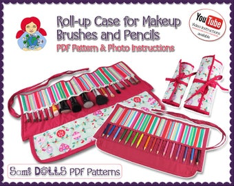 Roll-up Case for Makeup Brushes and Pencils DIY Tutorial PDF | by Sami Dolls