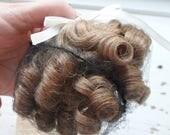 "ON SALE Vintage Global Dolls Wig, Baby, Size 4""- 5 1/2 "", L. Brown, Ringlet Curls, Bangs, Made In Phillippines, Doll Supplies, Doll Hair"