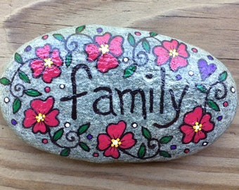 Happy Rock - FAMILY - Hand-Painted Beach River Rock Stone - flower garden red pansy posy posies petunia bee balm purple heart