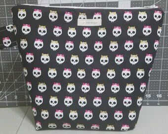 Project Bag, Large Project Bag, Knitting Bag, Crochet Bag, Project Bag for Knitting, Project Bag for Crochet, Skull Project Bag