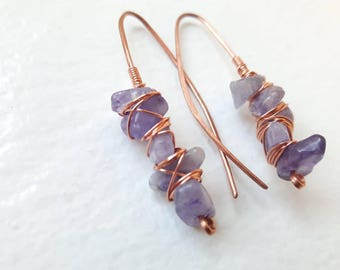 Amethyst and Copper Wire Wrapped Cluster Earrings