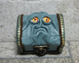 Treasure Chest Desk Organizer Monster Trinket Dice Box Ring Box Small Storage Stash Teal Leather Harry Potter Labyrinth 289