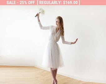 25% OFF! Ivory midi length tulle dress with long sleeves , Reception ivory tulle midi dress 1068