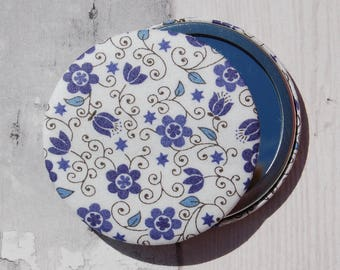 Liberty Fabric Covered Pocket Mirror Clemmie Blue