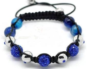 Adjustable Shamballa bracelet agate, silver beads and blue rhinestones