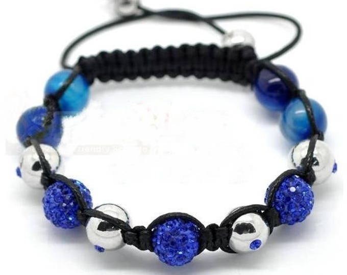 Adjustable Shamballa bracelet agate, silver beads and blue rhinestones