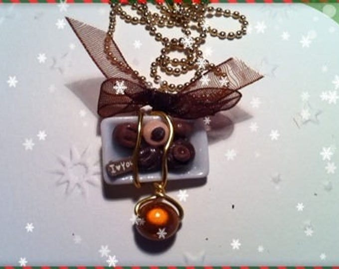 Chocolate Christmas ref 131 plate pendant necklace