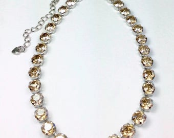 Swarovski Crystal 8.5mm Necklace    Sunny Golden Shadow Crystals   Designer Inspired - FREE SHIPPING