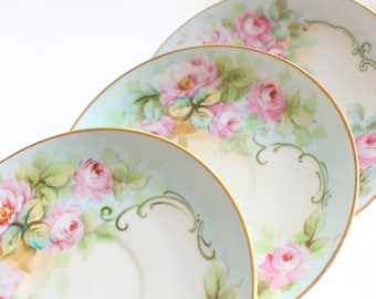 SAUCERS, Vintage, Porcelain Saucers, Set of 3 by Paul Muller, Selb Bavaria, Germany, Replacement China - ca. 1920s